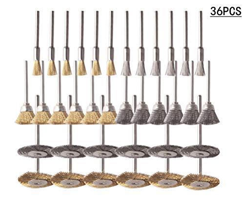 CestMall ワイヤーブラシ サビ取り 36個セット 真鍮&ステンレス鋼 ボウル型 T型 ペン型3種類 ルーター 電動ドリル ドリルドライバー 塗装はがし 研削 研磨ホイール ロータリーツール 工業用 ブラシ 作業工具 DIY