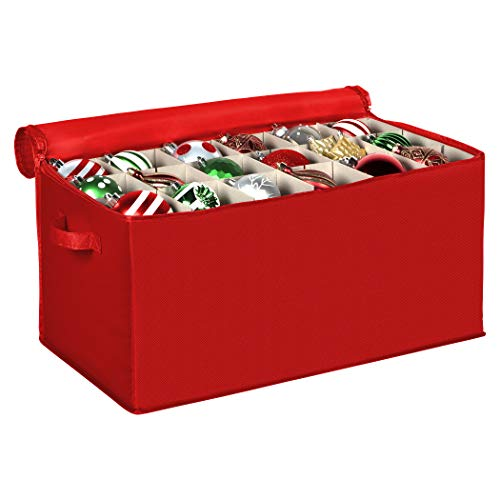 "Christmas Ornament Storage Container with Dividers -Box Stores Up to 54 - 4"" Ornaments, Zippered, Convenient, Adjustable, Heavy Duty 600D, Large Organizer Bin to Protect and Store Holiday Décor (Red)"