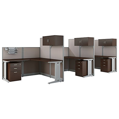 Office in an Hour 3 Person L Shaped Cubicle Workstations in Mocha Cherry