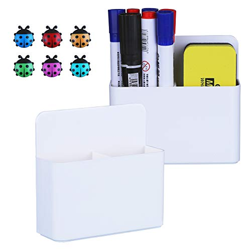 Antner 2 Pack Magnetic Dry Erase Marker Holders with Magnetic Push Pins Dry Erase and Pen Storage Organizers for Whiteboard Refrigerator Metal Locker and Cabinets