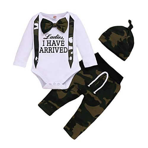 Baby Boy Clothes 0-3 Months Ladies I Have Arrived Newborn Boy Outfit Long Sleeve Camo Onesie Camouflage Hunting Pants Set Winter