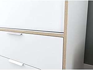 Générique Capri Armoire de Chambre 140 cm - Blanc Mat et décor Chene