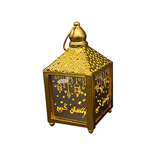 Ramadan Dekoration,LED Ramadan Laternen Hängende Laterne Schmiedeeisen Windlaterne LED Nachtlicht Gilt Für Muslimische Eid Al-Fitr Oder Andere Festivals