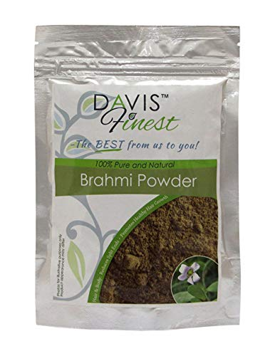 Davis Finest Brahmi Powder for Hair Strengthening Thickening Thinning Damaged Thicker Fuller Stronger Hair Growth, Vegan Hair Mask Split Ends Repair Treatment 100g