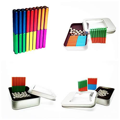 Magnetische Bausteine Blöcke, Magnet Bau Set, Magnet Sticks und Bälle Set, pädagogische Stapelspielzeug Magnetbälle für Kinder (23mm sechsfarbiger 108er Magnetstab + 81er Stahlkugel + Eisenbox)