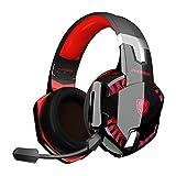 Auriculares PS4, PHOINIKAS Wired Gaming Kopfhörer für Xbox One, PC, Versión Mejorada Auriculares inalámbricos con Sonido Envolvente de Graves 7.1, Noise Cancelling-Mik, LED Licht - Red