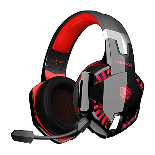 PHOINIKAS PS4 Headset, Low Latency Wired Gaming Kopfhörer für Xbox One, PC, Upgraded Version Wireless Headset mit 7.1 Bass Surround, Noise Cancelling-Mik, LED Licht - Rot
