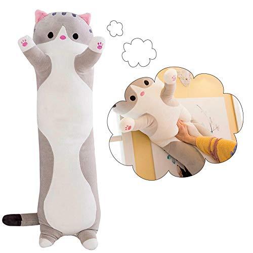 FADDR Langes Katzen Plüschtierkissen Kuscheltier Schlafkissen Süßes Umarmkissen Puppenkissen 50cm