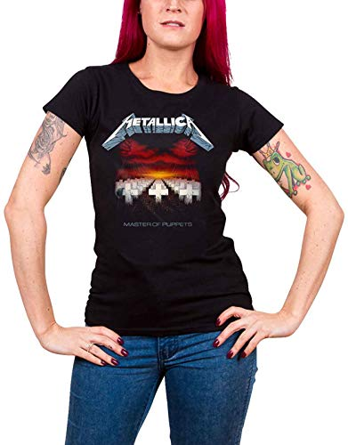 Women's Metallica Tracks T-shirt, Master Of Puppets, Juniors Fit, Medium Size