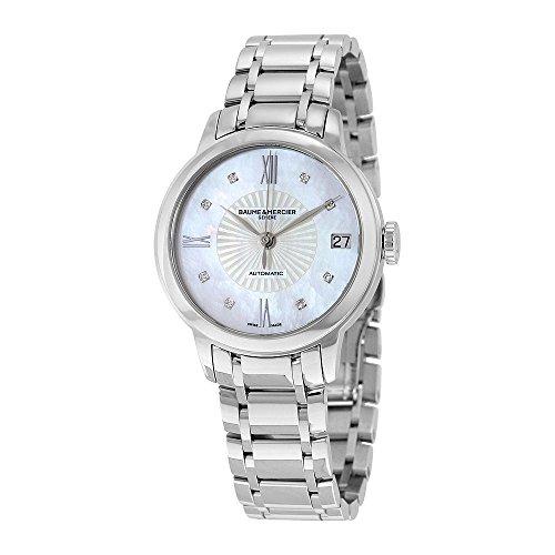 Baume & Mercier Classima - Reloj de mujer con esfera nácar con decoración de sol y diamantes y caja y pulsera de acero
