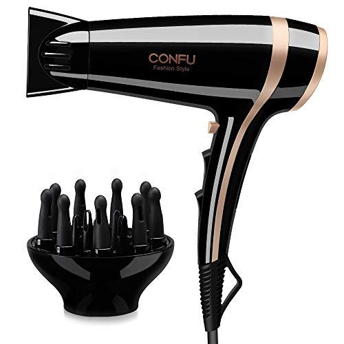 CONFU Haartrockner Ionen Föhn 2200W Profi Fön mit Stylingdüsen und Diffusorr, Professioneller mit 3 Hitze-Einstellungen & 2 Gebläsestufen & Kaltlufttaste für viele Frisuren