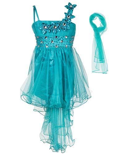 Miss Aylan Festliches Mädchen Kleid mit Stola Strass Perlen Blumen Prinzessinnenkleid M534tü Türkis 128