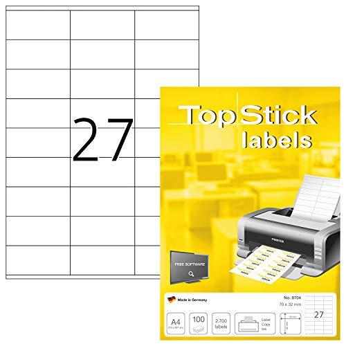 TopStick 8704 - Etiquetas autoadhesivas universales A4 pequeño (70 x 32 mm, papel) 100 hojas, 27 etiquetas por hoja, 2700 etiquetas, para impresoras inkjet y láser