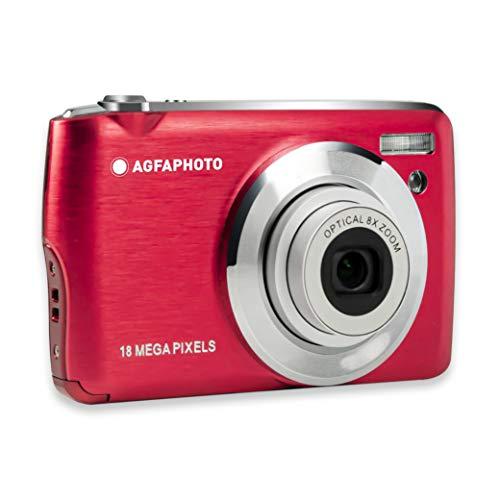 AGFA Foto Realishot DC8200 - Cámara de Fotos Digital compacta (18 MP, vídeo Full HD, Pantalla LCD de 2,7 Pulgadas, Zoom óptico 8X, batería de Litio y Tarjeta SD de 16 GB), Color Rojo