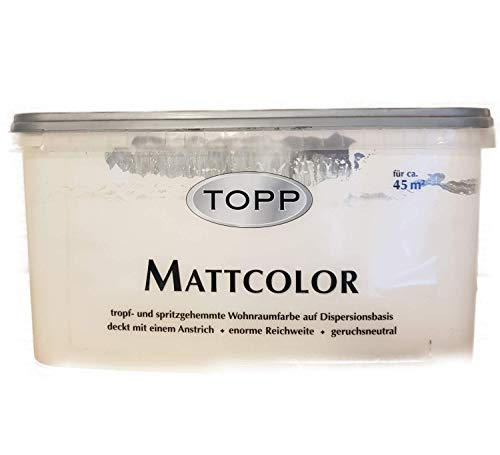 Top Mattcolor Dispersionsfarbe wandfarbe Matt Cremeweiß 4,5 L
