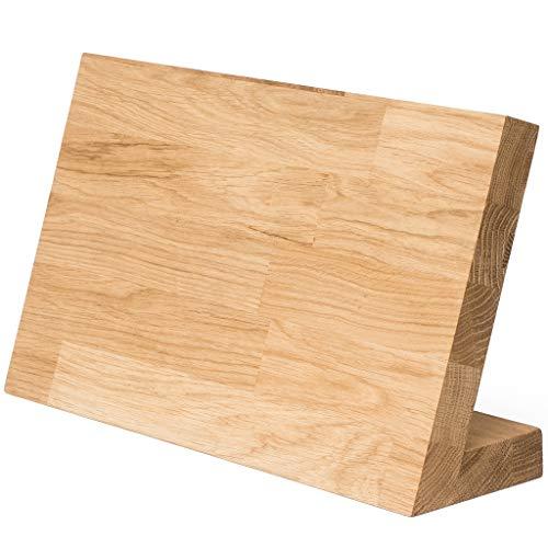 Messerblock unbestückt Messerhalter magnetisch XXL aus Eiche massiv. Design Messerbrett Holz ohne Messer. Starker Magnet bis zu 7 Messer. Massivholz Messerleiste Magnethalter ohne Messer