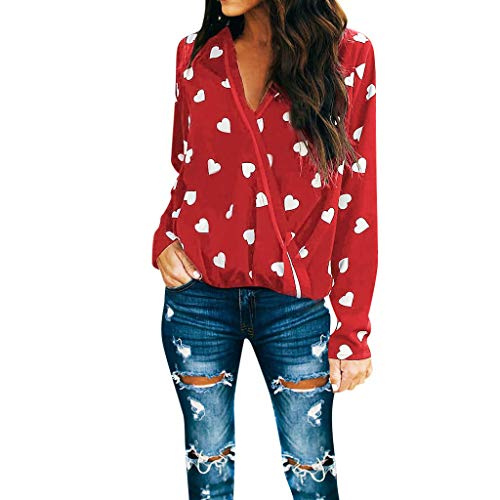 Hemlock Women Office Shirt Valentines Heart Print Blouse Long Sleeve Shirt V Neck Pullover Ladies...