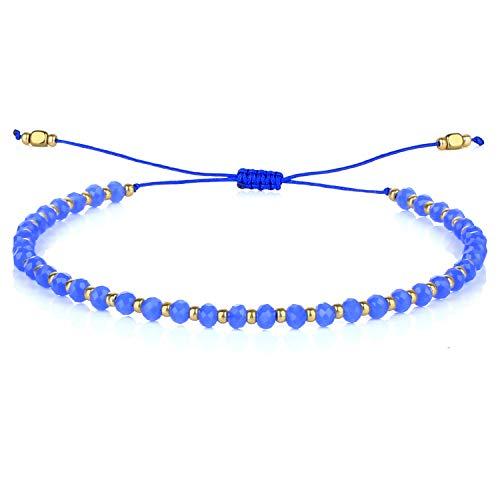 C·QUAN CHI Bracelet en Perles De Cristal Taillé à Facettes Bracelet De Femme Bracelet D'amitié Boho Bracelet Réglable Tissé à La Main pour Filles
