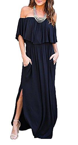 LILBETTER Womens Off The Shoulder Ruffles Pockets Dress Side Split Maxi Dresses (Navy Blue, Medium)