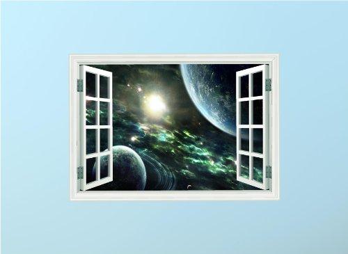 Red Parrot Graphics l'espace Planet étoiles Enfants énorme 3D fenêtre Décoration Murale Autocollant, Medium 57cm x 40cm