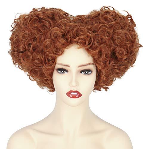 Cosela Women Short Curly Reddish Brown Hearts Shaped Wig Halloween Cosplay Costume Hair