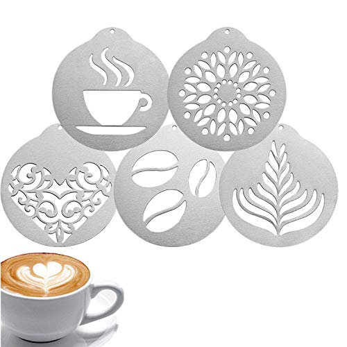 5 Pcs Coffee Stencils- Stainless Steel Coffee Decorating Stencils Cappuccino Arts Templates Barista Coffee Garland Mould for Cake Decorating
