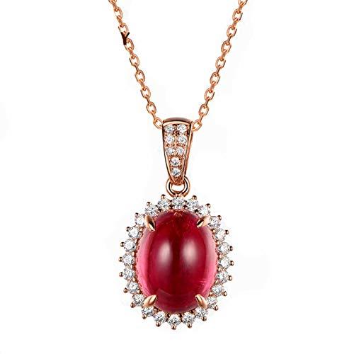 Bishilin Oro Rosa 18K Collar de Mujer 18 Kilates con Colgante Rojo Turmalina Pendientes Forma de Flor Forma Ovalada de Cuatro Garras Rojo EURena de Collar de Aniversario Longitud45Cm