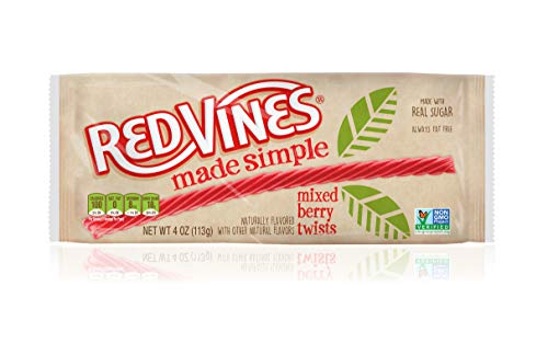 Red Vines Made Simple Licorice, Mixed Berry Flavored Twists, 4oz Tray (12 Pack), Soft & Chewy Candy