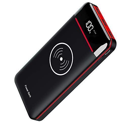 RLERON Power Bank 25000mAh Wireless, Caricabatterie Portatile con 2 ingressi (USB C & Micro) e 3 uscite, Batteria Esterna per Smartphones, Tablet e Altri (Rosso)