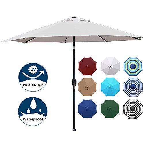 Blissun 9' Outdoor Aluminum Patio Umbrella, Striped Patio Umbrella, Market Striped Umbrella with Push Button Tilt and Crank (Grey)