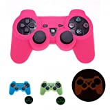 PINK GLOW in DARK Silicone Case for Playstation 3 PS3 Game Controller Anti-Slip Skin Protector Cover
