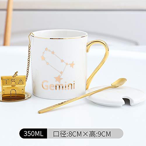 Xiaobing Taza de cerámica de 12 Constelaciones, Taza de Lujo Ligera con Tapa, Cuchara, Oficina, Pareja, Taza de café, Blanco gemini-C053