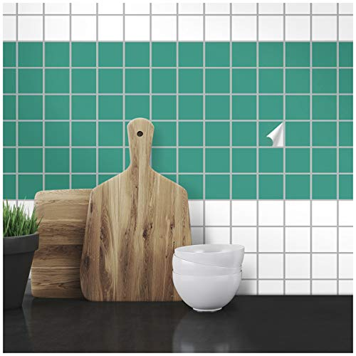 Wandkings Fliesenaufkleber - Wähle eine Farbe & Größe - Türkis Seidenmatt - 5 x 5 cm - 100 Stück für Fliesen in Küche, Bad & mehr