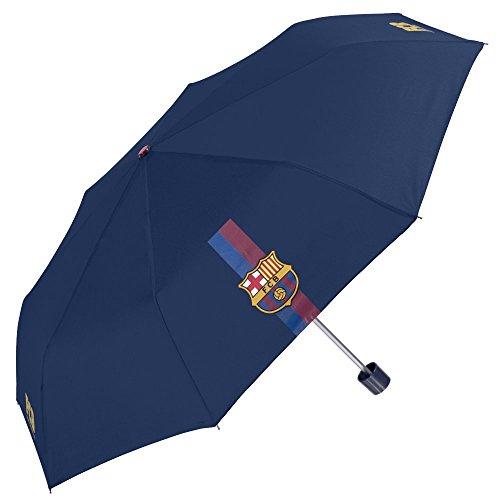 Perletti Taschenschirm / Schirm / Regenschirm FC Barcelona - Windschutz, Elegant und kompakt für Reisen - Manuell - Blau