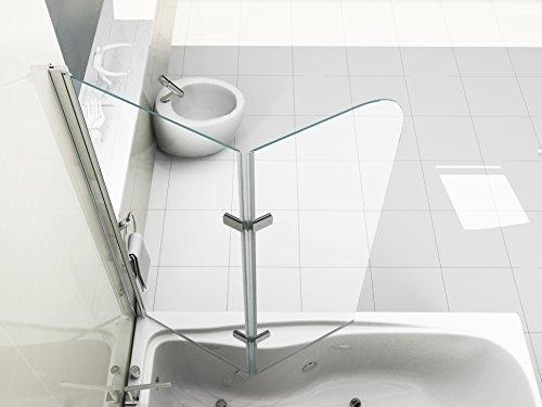 HNNHOME Mampara de baño con Panel pivotante de 180°, Cristal de 6 mm
