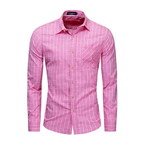 Camisa de Manga Larga para Hombre Nueva Camisa de Manga Larga a Cuadros a Cuadros de Color Rosa de Gran tamao Camisa de Bolsillo de un Solo Pecho XXL