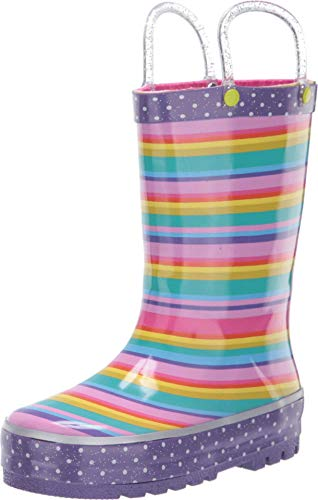 Western Chief girls Sweet Stripe Boot (Toddler/Little Kid) Rain Shoe, Multi, 9 Toddler US