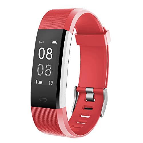 YAMAY Pulsera Actividad con Pulsómetro Mujer Hombre, Monitor de Actividad Deportiva, Ritmo Cardíaco, Impermeable IP67, Reloj Fitness, smartwatch con Podómetro, Color Rojo