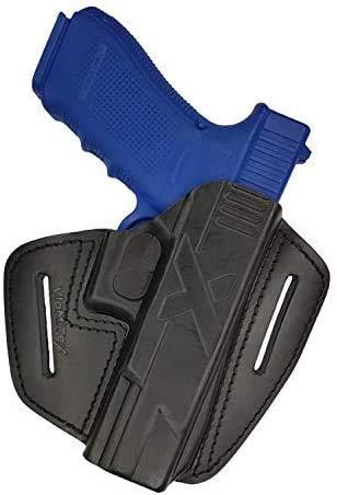 VlaMiTex U9 Funda de extracción rápida para pistola Glock 20/21/Zoraki 917, apta para tiro práctico, de piel 100%