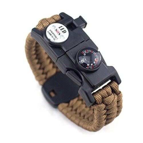 Aiming Männer Frauen Geflochtene überleben Armband LED-Licht Paracord Armband Camping Rettungsseil Zahnradsatz mit Pfeife-Kompass-Feuer-Starter Braun
