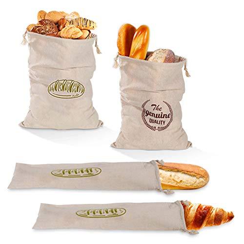 Movein Leinen Brotbeutel Brotsack,4 Pack Wiederverwendbare Brot Tasche, Brotbeutel und Baguettebeutel für hausgemachte handwerkliche Brot Baguette Lebensmittel Lagerung, Bäcker.