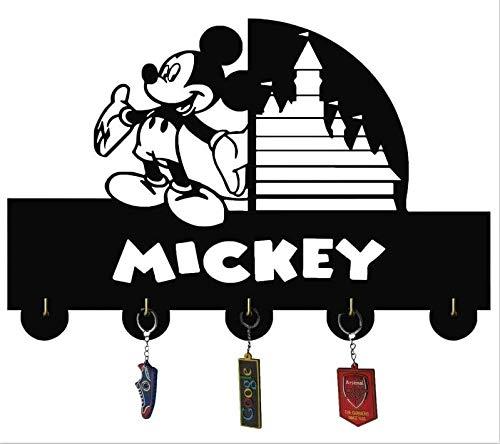 Disney,Mickey Mouse Cartoon Key Hooks,Key Holder, Key Hanger, Wall Hooks,Wall Key Holder, Key Holders, Personalized Gift, Home, Housewarming Gift, Wedding Gift (H5) Black 12inch with 5 Hooks (3) (3)
