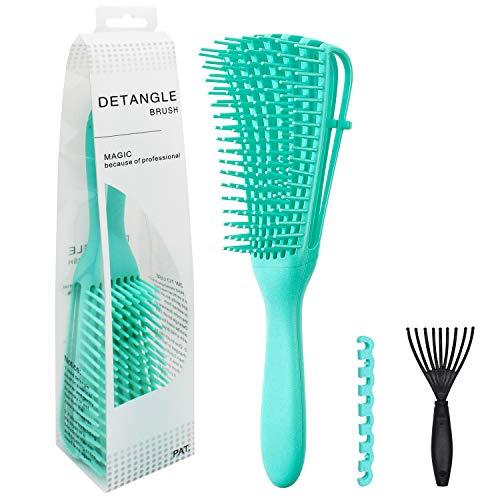 ALLYAG Detangling Brush - EZ Detangler Brush with Nylon Brush Teeth for Curly, Straight, Wet or Dry Hair - Improve Hair Quality & Massage Scalp Detangler Comb for Women, Men and Kids (Green)