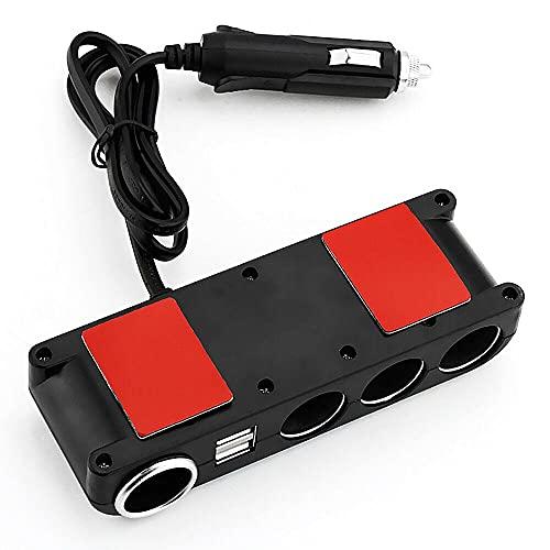 KTING 12 V 24 V Multi Socket Car Mechero divisor USB cargador adaptado, 4 vías carga rápida coche encendedor de cigarrillos, compatible con teléfono móvil, MP3, máquina de juego, cámara digital