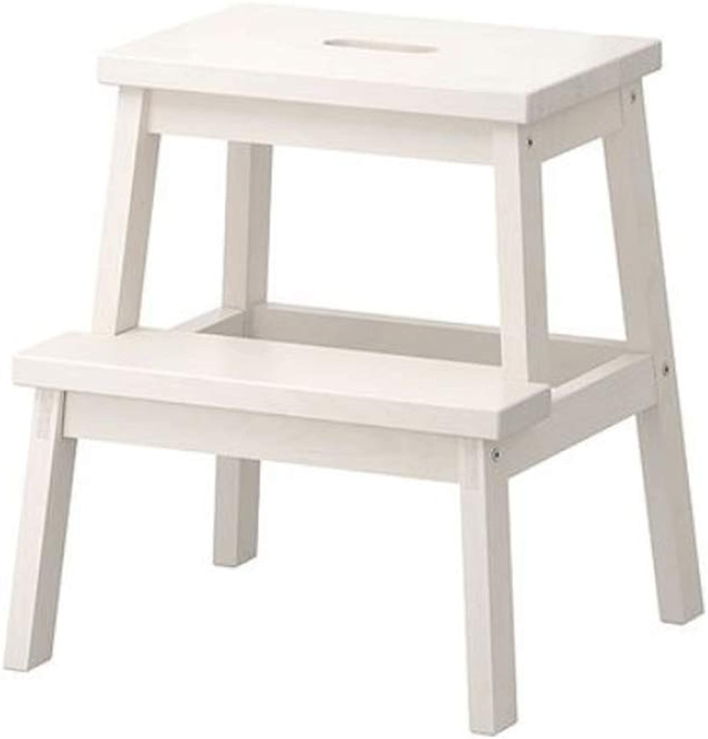 Multifunctional Solid Wood shoes Bench Step Stool Climbing Ladder Foot 2 Layer Small Bench Coffee Table Rack (color   White)