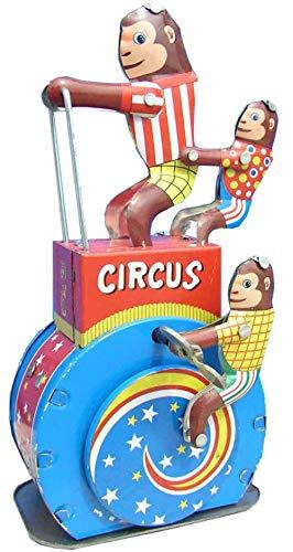 Juguete Decorativo de Hojalata Monos Circo Triciclo Animales de Cuerda. Juguetes y Juegos de Colección. Regalos Originales. Decoración Clásica.