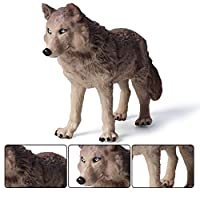 オオカミ彫刻モデル動物、図屋外ガーデン家の装飾グレーウルフ像コレクション装飾品子供のおもちゃプラスチックのおもちゃ20 x 5 x 11.5cm