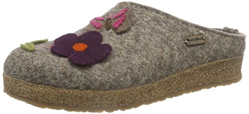 HAFLINGER Grizzly Admio, Pantofole Donna, Beige Torf 550, 41 EU