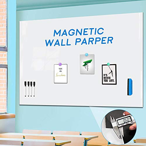 Large Magnetic Whiteboard Sticker for Wall, Non-Adhesive Back with Dry Erase Board Surface, Thick and Removable, 94 x 48 Inches, Includes 2 Markers 6 Magnets