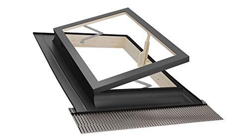 Emica - Lucernario apertura Libro in Alluminio | Linea Best con Vetrata Isolante 3-9-3 | Interno Legno Abete | Ideale per uscita sul Tetto | Finestra da tetto (55x78 Base x Altezza)